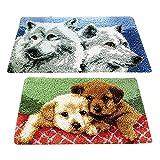 freneci 2 Satz Knüpfteppich mit Knüpfhaken und Knüpfwolle, Wolf & Hund Teppich Stickpackung Knüpfteppiche Knüpfbild für Erwachsene, Kinder