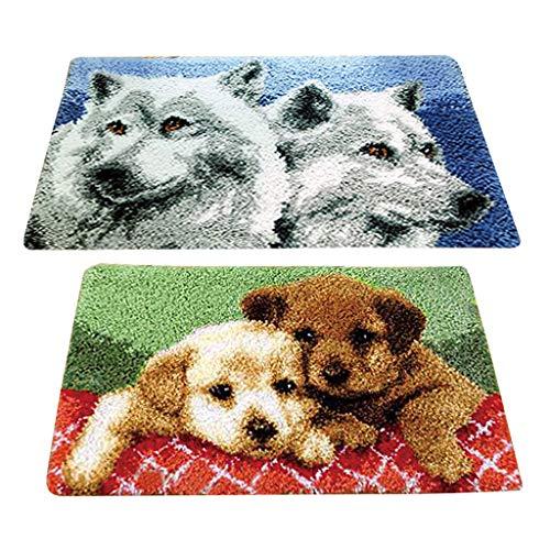 chiwanji - Juego de 2 alfombras Bordadas, diseño de Cachorro y Lobo