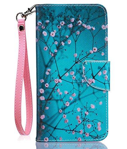 JanCalm for iPhone 8 Plus Wallet Case/iPhone 7 Plus Case [Card/Cash Slots+Side Pocket][Wrist Strap] Kickstand PU Leather Magnetic Flip Cover for iPhone 8 Plus/7 Plus + Crystal Pen (Plum Blossom)
