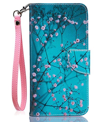 JanCalm iPhone 8 Plus Wallet Case,iPhone 7 Plus Case [Card/Cash Slots+Side Pocket][Detachable Wrist strap] KickStand PU Leather Magnetic Flip Cover for iPhone 8 Plus/7 Plus + Crystal Pen(Plum blossom)
