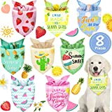 8 Piezas Bandanas de Perros de Frutas de Verano Baberos Triangulares de Mascotas Bufanda Lavable de Perros Pañuelo de Perros de Piña Fresa Sandía Limón para Disfraz Mascota