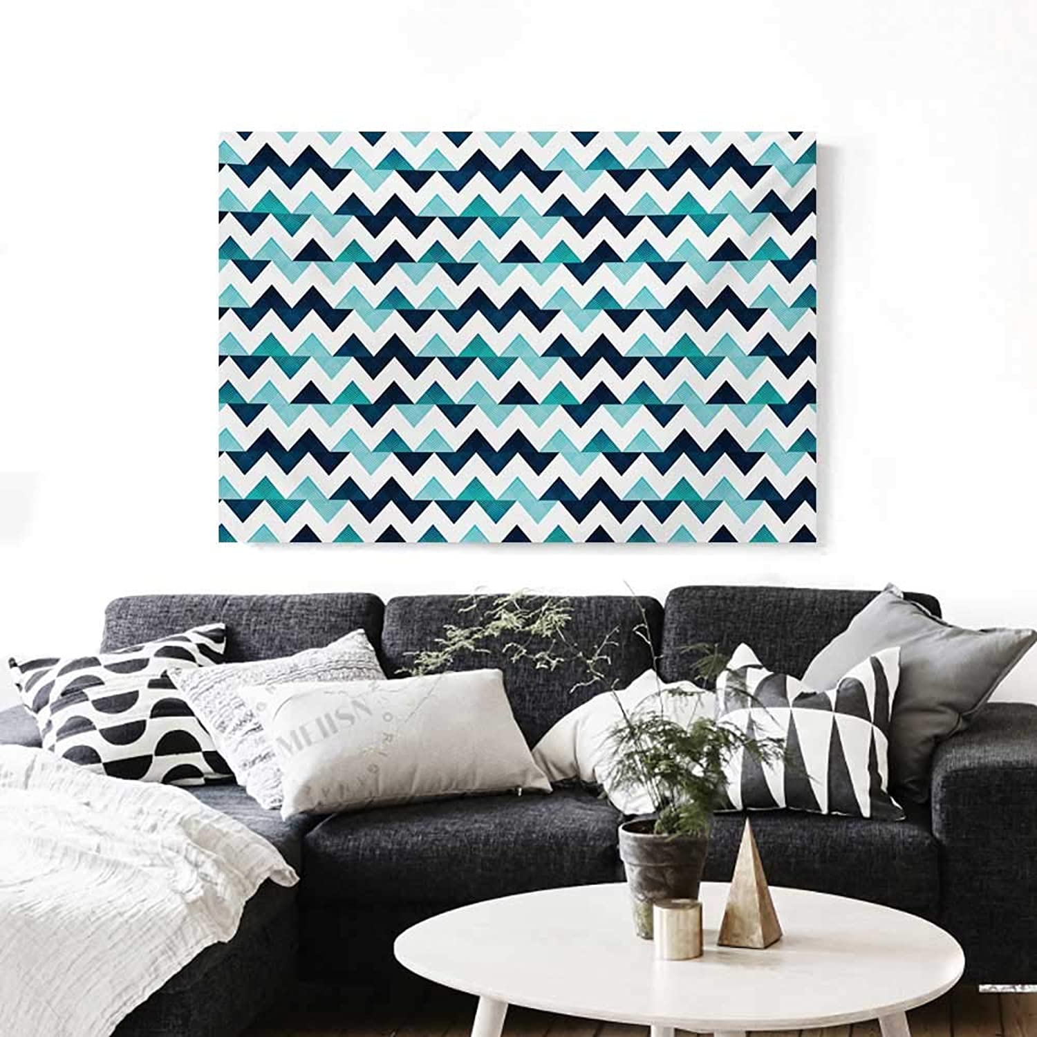 bluee and White Canvas Wall Art for Bedroom Home Decorations Horizontal Zigzag Borders with Striped Design and Modern Look Art Stickers 48 x32  Dark bluee Pale bluee White