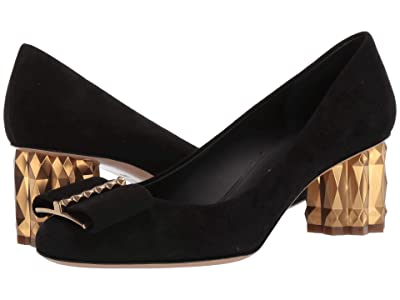 Salvatore Ferragamo 55 mm Capua Pump (Nero Suede) High Heels