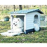 Caseta para Perro, Caseta Perros Exterior Grande, Caseta Perro Mediano Exterior, Caseta para Perros en Resina, Casa Perro Interior, Resistente Aislada Impermeable Azul + Blanco(Size:L:(1-45kg animal))