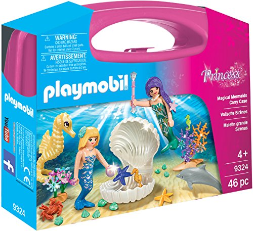 Playmobil PMB-SET08 9324 Large Princess Magical Mermaids Carry Case 46PC Play Set, transparent, 200 g