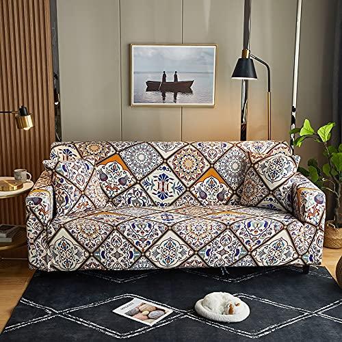 WXQY Funda de sofá de impresión elástica, Funda de sofá de Esquina en Forma de L, Funda de sofá Antideslizante Estilo Hoja Creativa nórdica A8 de 4 plazas