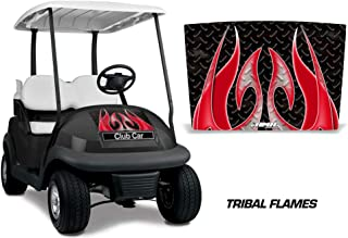 AMR Racing Golf Cart Hood Graphics kit Sticker Decal Compatible with Club Car Precedent i2 2008-2013 - Tribal Flames Red