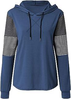 Women Hoodie Pullovers Loose Long Sleeve Sweatshirts Classic Stripe Hoody T-shirts Casual Loose Comfortable Blouse Tops 20...