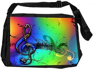Jacks Outlet JOI-MB-32 TM Messenger Bag, Colorful Clef Musical Design
