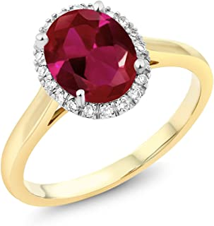 10K 2-Tone Gold Oval Red Created Ruby and Diamond Halo Engagement Ring 2.00 Ct (Available 5,6,7,8,9)