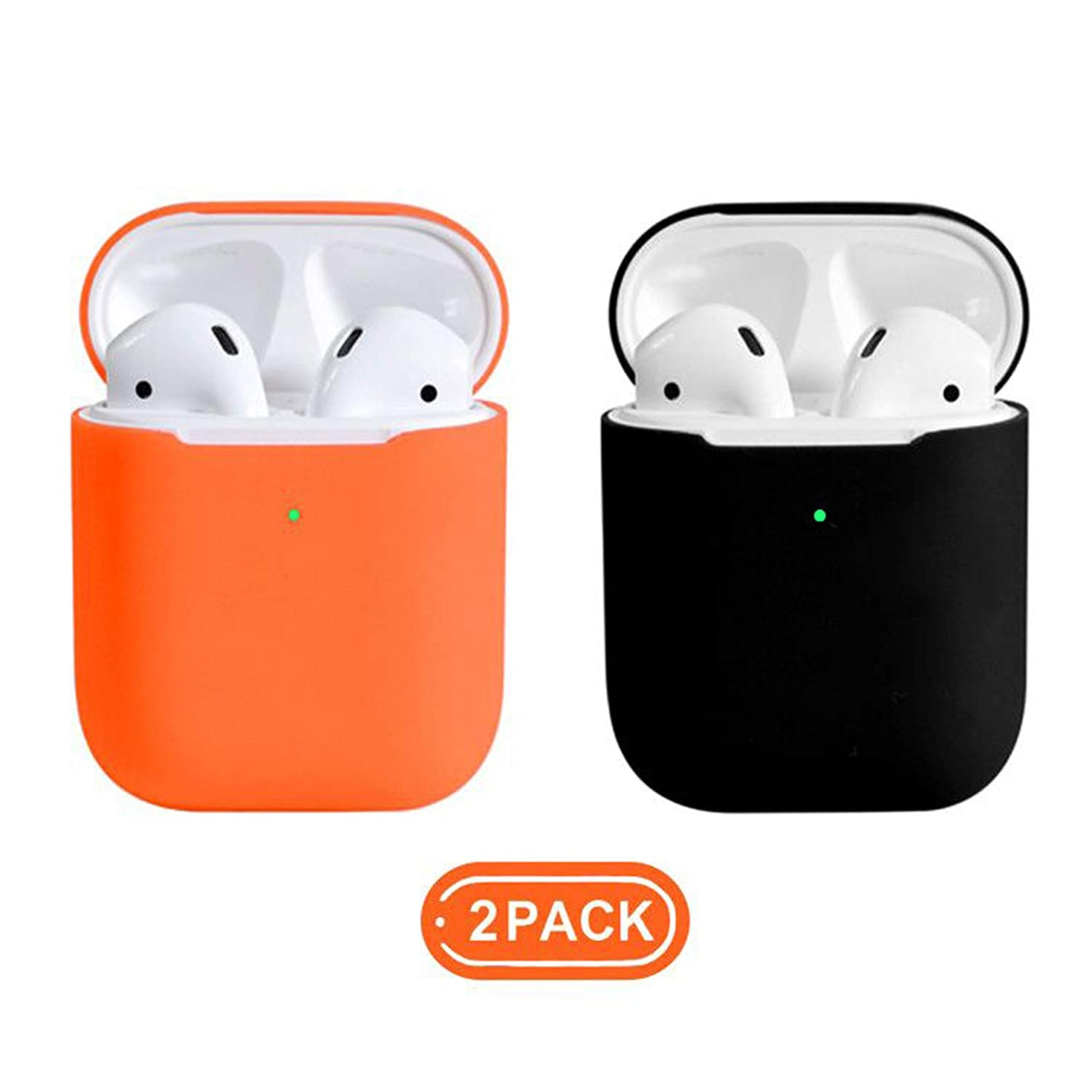Coffea AirPods Case, 0.8mm Ultra Thin Soft Cover Skin Silicone Case for Apple AirPods 2 & 1 [Front LED Visible]