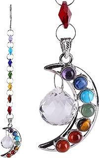 Half-Moon Crystal Prisms Pendant Handmade 7 Colors Suncatcher Octagon Beads Hanging Decor for Door Window Screen Divider Home Party Wedding Christmas Car Rear View Mirror