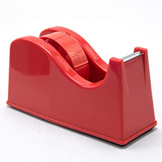 """Desktop Tape Dispenser Adhesive Roll Holder (Fits 1"""" & 3"""" Core) with Weighted Nonskid Base Red"""