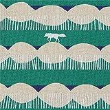 Naturfarben und grün gestreiftes Wachstuch mit Wölfen