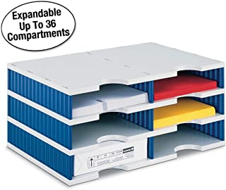 Ultimate Office TierDrop Desktop Organizer/Forms Sorter, 6-Compartments with Optional Add-On Tiers for Easy Expansion, Gray w/Blue