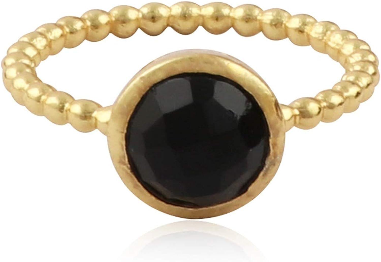 El Joyero Gold Plated Black Onyx. Gemstone Brass Handmade Design Stacking Rings Jewelry