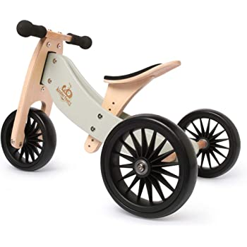 Kinderfeets TinyTot Plus 2-in-1 Wooden Balance Bike and Tricycle - Easily Convert From Bike to Trike | Sustainable and Eco-Friendly | Adjustable Riding Balance Toy for Kids and Toddlers 18 Months and Up