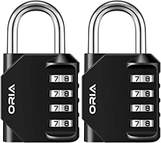 ORIA Combination Lock, 4 Digit Combination Padlock Set, Metal and Plated Steel Material for School, Employee, Gym or Sports Locker, Case, Toolbox, Hasp Cabinet and Storage, Pack of 2, Black