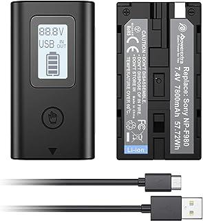 Powerextra Sony ソニー NP-F980L 互換バッテリー2個 残量表示 10050mAh 大容量 NP-F980/NP-F970/F330/F530/F550/F570/NP-F730/F750/F770/NP-F930/F95...