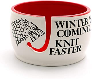 Game of Thrones Knitting Yarn Bowl - Winter is Coming Red