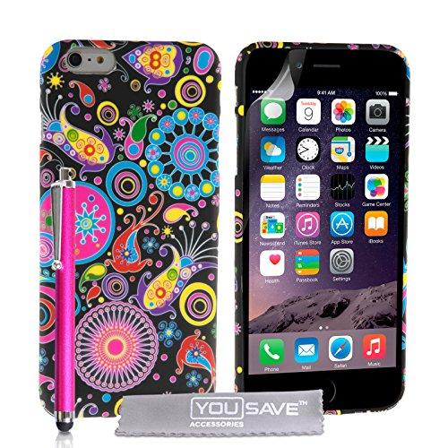 Yousave Accessories Custodia con Stilo Penna per iPhone 6 Plus, Design Meduse, Silicone Gel, Multicolore