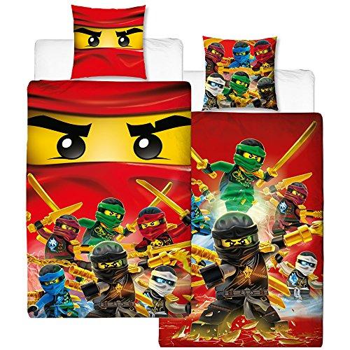 Réversible Linon Parure de lit pour enfant Lego Ninjago - Fire - 135 x 200 cm + 80 x 80 cm - 100% coton - renforcé Cole - Jay - Kai - Lloyd - Zane - Nya - Misako - Sensai Wu - Allemande Taille