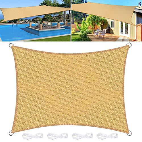 Emooqi Sonnensegel Rechteckig, Rechteckig Sonnensege3x4M Sonnenschutz Atmungsaktiv HDPE UV Schutz, Permeable Canopy für Terrasse, Balkon und Garten -Sandbeige