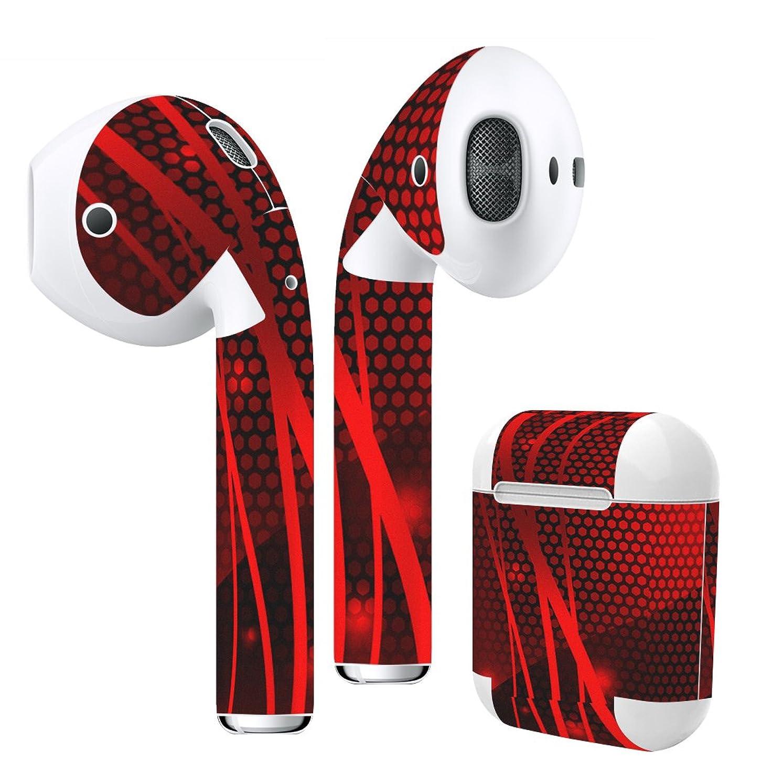 彼の短命飛行場igsticker Air Pods 専用 デザインスキンシール airpods エアポッド apple アップル AirPods 第一世代(2016)airpods2 第二世代(2019)対応 イヤホン カバー デコレーション アクセサリー デコシール 002950 ユニーク 赤 シンプル