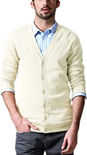 Matchstick Men's Button Through V Neck Knitted Cardigan #Z1522(Ivory,UK M (Asian tag Size XL))
