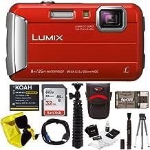 Panasonic Lumix DMC-TS30 Digital Camera (Red) with 32GB Accessory Bundle
