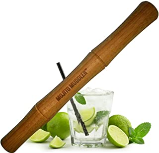 Mojito Muddler 11 Inch Professional Grade Bamboo - Won't Shred or Taint Like Steel, Plastic or Cheap Wooden Muddlers (Bartenders Love It!)