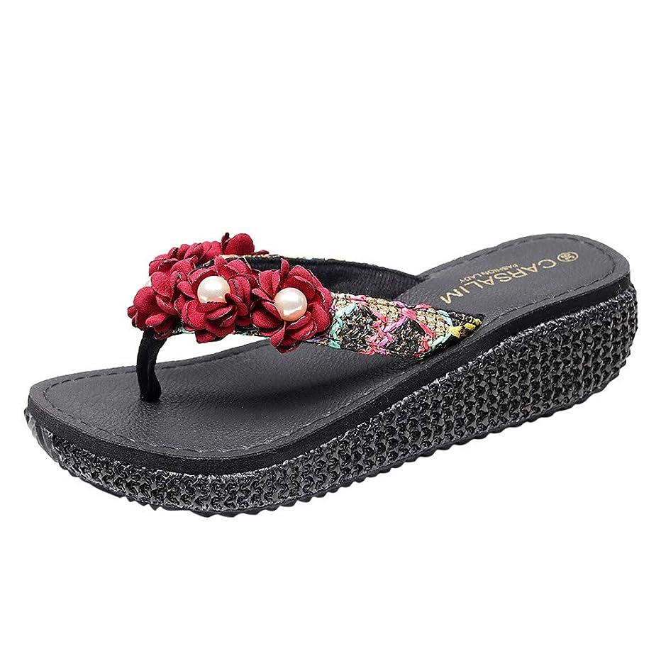 Hurrybuy Women's Yoga Mat Flip Flops Casual Flat Ladies Fashion Flip-Flops Flower Loafer Beach Shoes Slipper Sandals
