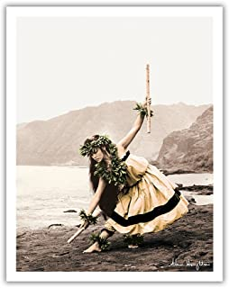 Pacifica Island Art Pua with Sticks (Kala'au) - Hawaiian Hula Dancer - From an Original Hand Colored Photograph by Alan Houghton - Hawaiian Fine Art Print - 11in x 14in