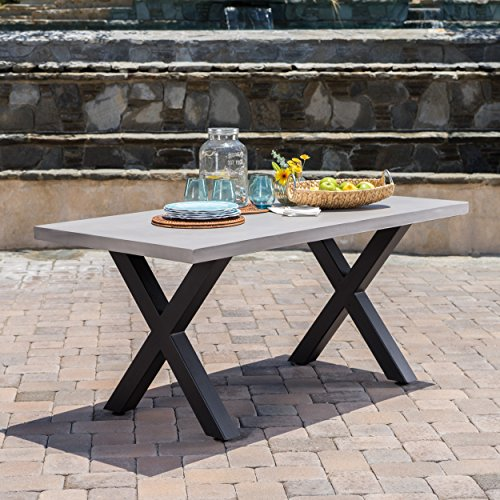 Christopher Knight Home Galatian Outdoor Light Weight Concrete Dining Table with Iron Legs, White / Black