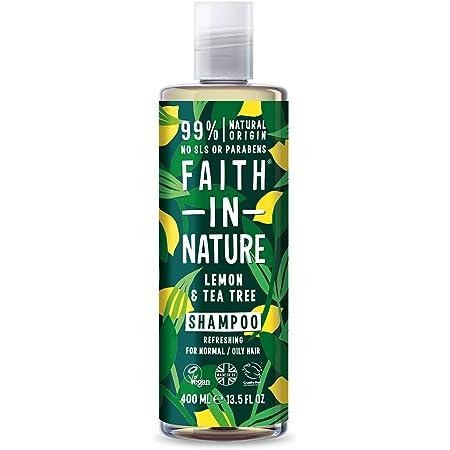 Faith In Nature Shampoo Naturale al Limone e Albero del Tè, Rinfrescante, Vegano, senza Parabeni e senza SLS, non Testato su Animali, per Capelli da Normali a Grassi, 400 ml