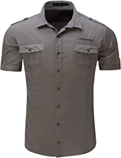 HULANG Mens Military Short Sleeve Twill Work Shirts Casual Button Down Shirts Pockets