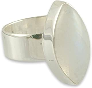 Rainbow Moonstone .925 Sterling Silver Handmade Modern Ring 'Asymmetry'