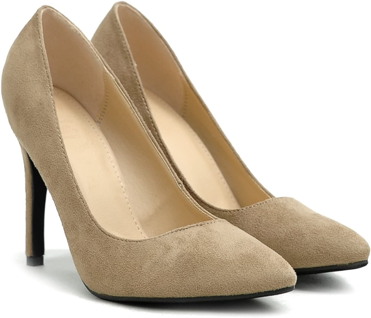 Ollio Womens Faux Suede Point Toe shoes D'Orsay High Heel Multi color Pump (8.5 B(M) US, Sand)