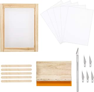 Peirich 18 Pieces Screen Printing Starter Kit Including 8 x 10 Inch Wood Silk Screen Printing Frames, Screen Printing Squeegee,Waterproof Transparency Film, Carving Knife for Stencil Method