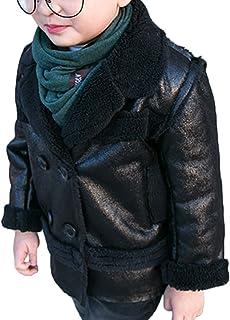 ZUOMAボーイズ ライダースジャケット 厚手ジャケット スエードコート 皮衣 綿入れ上着 裏起毛 トレンチコート