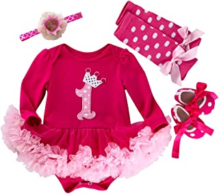 Marlegard Baby Girls' 4PCs Hot Pink 1st Birthday Tutu Dress Headband Shoe Leggings