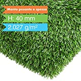 casa pura prato sintetico da esterno drenante - manto alto e folto, 40 mm | erba sintetica effetto naturale in varie misure - 200x300 cm