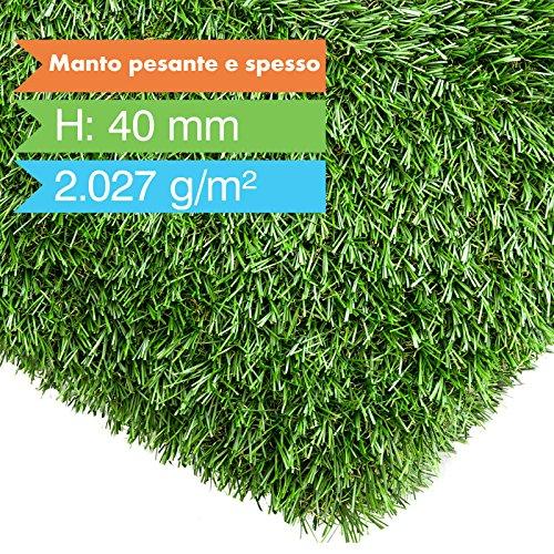 casa pura Prato Sintetico da Esterno Drenante - Manto Alto e Folto, 40 mm | Erba Sintetica Effetto Naturale in Varie Misure - 200x100 cm