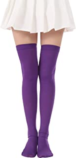 Over Knee Solid Stockings Saint Patrick's Day Socks Costume Thigh High Tights(01 Purple stockings)