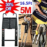 5M Telescopic Extendable Ladder w/Detachable Hook Soft Close Anti Pinch Finger Protection-Aluminum Lightweight-150kg/330lbs Max. Load-Portable Loft Stragiht Ladder