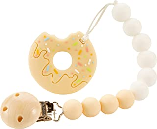 Nearbyme Baby Teething Toys, BPA Free Silicone Cute Doughnut Shape Teether with Relief Beads Binky Holder and Pacifier Clips for Toddlers & Infant (Beige)