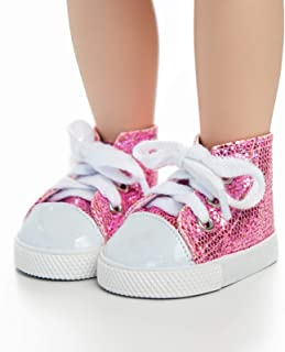 The Queen's Treasures 18-inch Doll Clothing Pink Sparkle High Cut Sneakers Complete With Box. Fits any 18-inch American Girl Doll