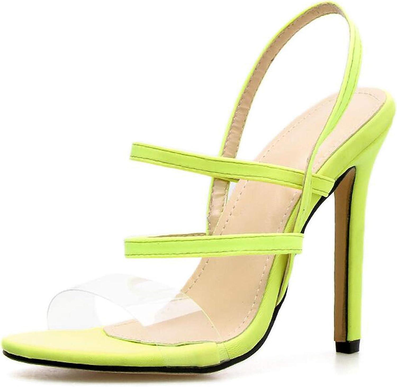 PVC Sandals Ankle Strap Cross-Strap Woman Sandals High Heels Narrow Slip-On Sandals,Green,5