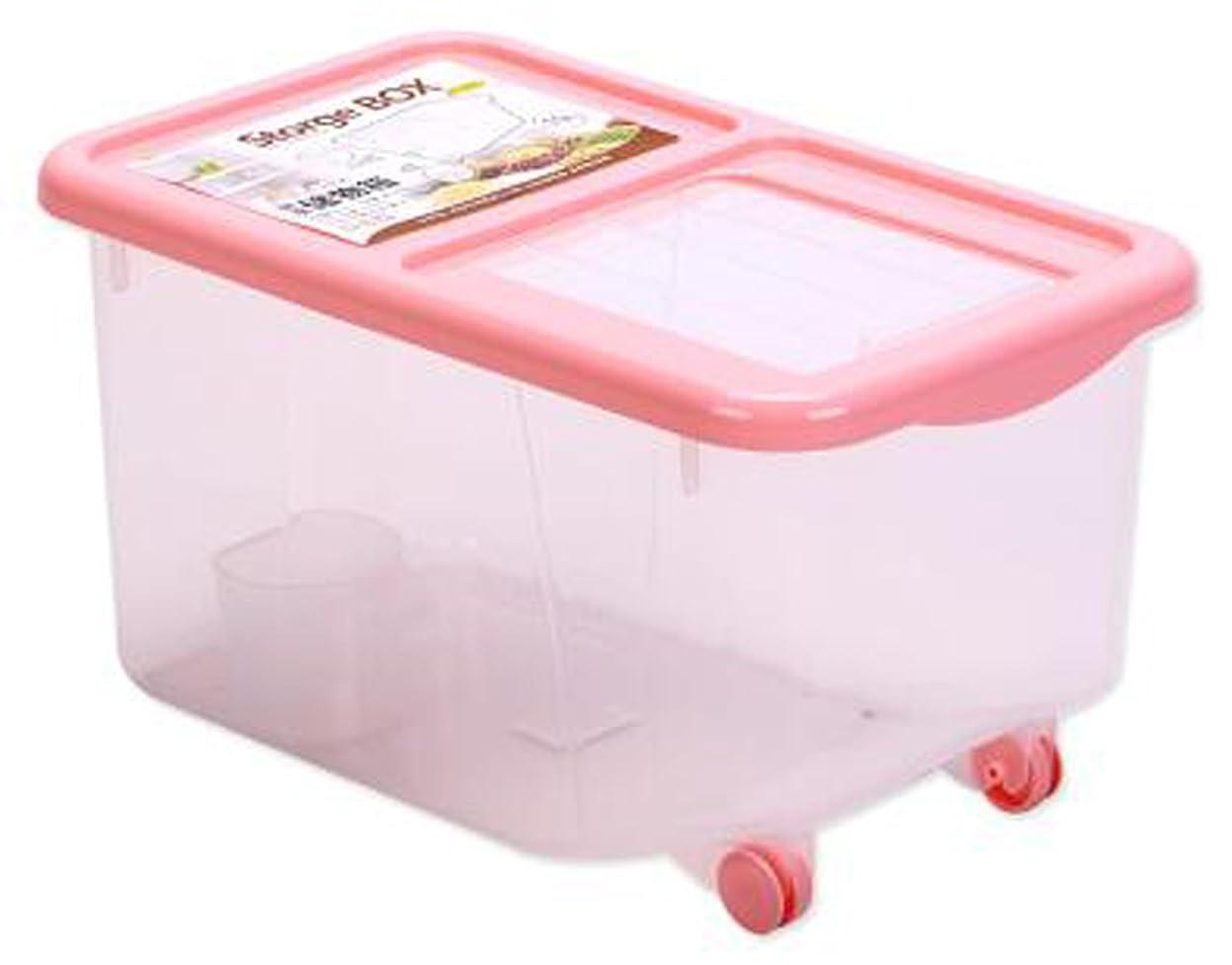 もつれ信頼性好意的薩牧徳米びつプラスチック防虫防湿蓋付き米びつ大容量米びつ (20kg, ピンク)