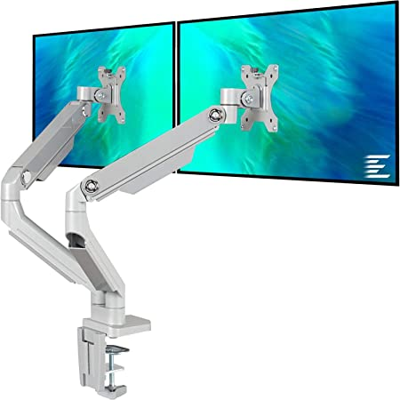 EleTab Dual Arm Monitor Stand - Height Adjustable Desk Monitor Mount Fits for 2 Computer Screens 17 to 32 inches - Each Arm Holds up to 17.6 lbs